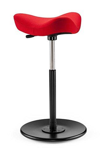 Move - stahulp en kruk/rood met houten bord zwart gelakt
