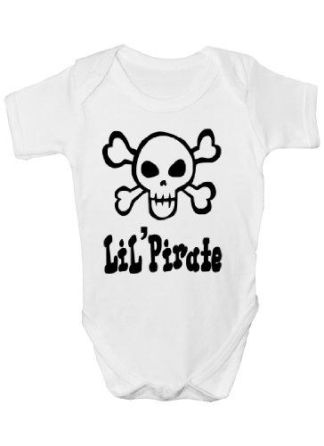 Lil 'Pirate Tête de mort et tibias Cadeau humoristique Body bébé fille/garçon Gilet - Blanc -