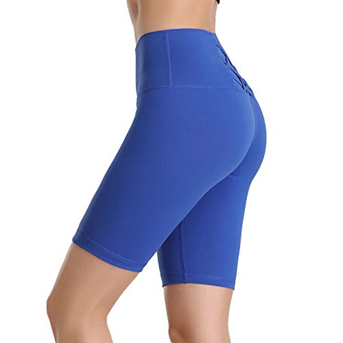 Leggings Hohe Taille Kurze Hosen Nahtlose Frauen Sport Kurze Dehnung Schnelltrocknend Laufen Lässige Leggings Fitness Abnehmen S C-Blau Gratis Versand