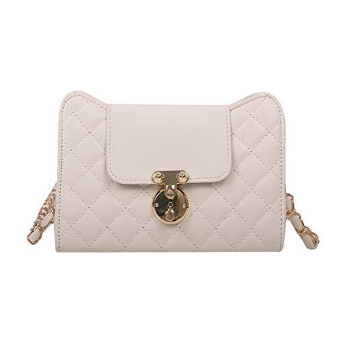 Fashion Lattice Pattern PU Leather Crossbody Bag Women Casual Shoulder Handbag Solid Color Chain Elegant Messenger Satchel for Ladies Girl