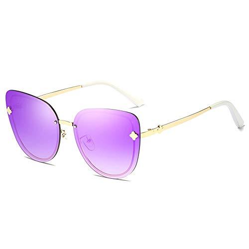 SWNN Gafas de Sol Gafas De Sol Deportivas Al Aire Libre for Montar En La Playa. Gafas Ultravioletas Anti-UV for Conducir En La Playa Sin Bordes Gafas De Sol Poligonales UV400 (Color : Purple)