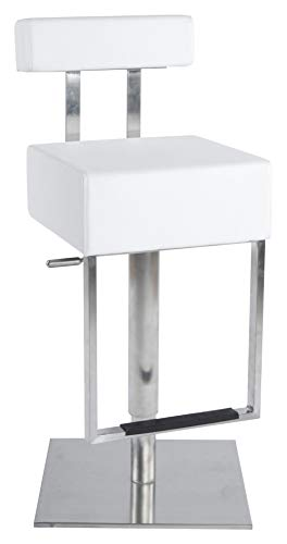 Kokoon BS00430WH Tabouret de Bar Design Cubo Blanc en Cuir Synthétique