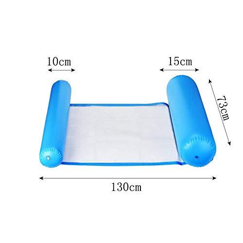 Hicollie Aufblasbare Wasserhängematte Schwimmbett 4 in 1 Luftmatratze Pool Schwimmbett mit Netz Loungessel Pool Lounge Luftmatratze Schwimmmatratze für Erwachsene Kinder (Blau)