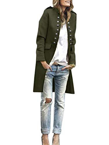 Tomwell Damen Blazer Elegant Anzugjacke Mantel mit Knopfleiste Military Blazer Lang Blazer Slim Fit Blazer Freizeit Stehkragen Business Büro Anzug Jacken Armeegrün 40