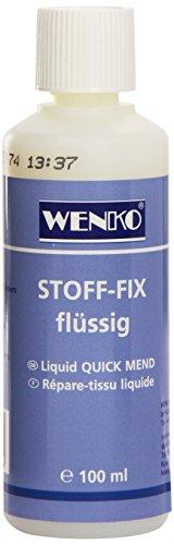 WENKO 4881110500 Stoff-Fix flüssig, Textilkleber Fassungsvermögen: 0.1 l, Chemische Zusammensetzung, 4 x 12 x 4 cm