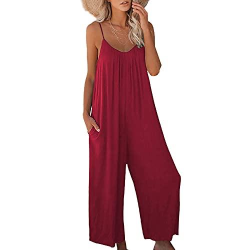 Mono de pijama sin mangas con correa de espagueti para mujer, color sólido, rojo, XXL