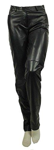 David Moore - Damen Lederhose Materialmix Lammnappa schwarz Größe 34