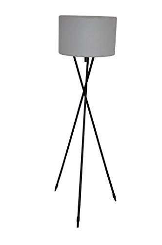 Leco Terrassenstehlampe 3-Bein Stehlampe, Schwarz, Weiß, Gesamthöhe 145 cm Ø 40 cm Lampenschirm Höhe: ca. 25 cm