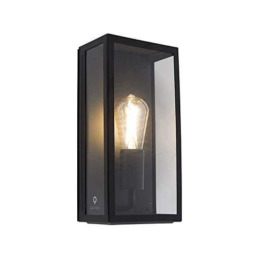 QAZQA - Modern Industrie | Industrial rechteckige Außen Wandleuchte schwarz mit Glas IP44 - Rotterdam | Außenbeleuchtung - Edelstahl Rechteckig - LED geeignet E27