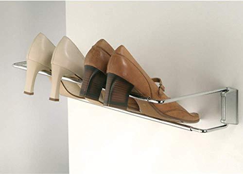 Gedotec Support Chaussures Mural - Rangement Chaussures - Acier Chromé à Visser aux Murs - Porte Chaussures Ajustable LISA - Réglable en Largeur de 460 à 750 mm - Design Compact - 1 Pièce