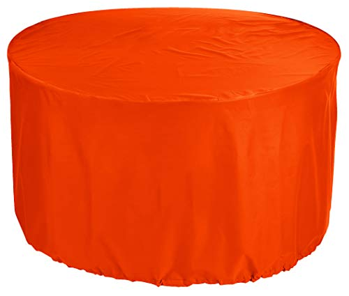 KaufPirat Premium Tarpaulin Round Garden Table Cover Ø 270x70 cm Outdoor Daybed Cover Outdoor Furniture Cover Table and Chair Dust Cover Waterproof Round Patio Table Cover 600D Oxford Fabric Orange