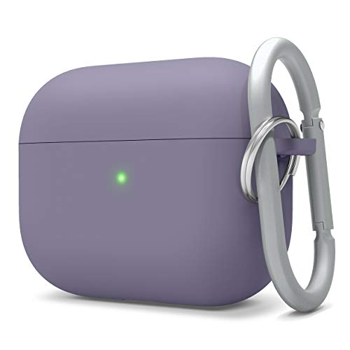 elago Liquid Silicone Case Compatible with AirPods Pro Case Cover - Keychain Included, Triple Layer Protection, Safeguard Design, Supports Wireless Charging [Lavender Grey]