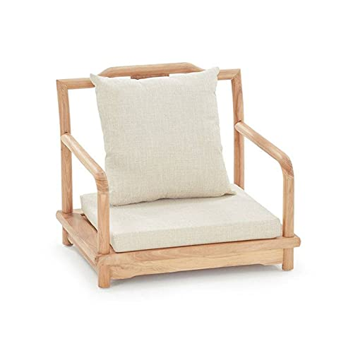 Japanese Floor Chair,Wood Tatami Chair Zaisu Legless Chair Back Support Outdoor Indoor Great for Reading Meditating Living Room Balcony-B