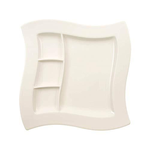 Villeroy & Boch NewWave Grillteller, Porzellanteller, mit 3 Einteilungen, rechteckig, Premium Porzellan, spülmaschinen- und mikrowellengeeignet, weiß, 27 cm