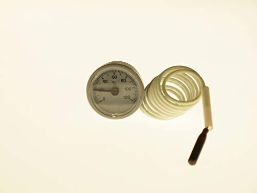 THERMIS Termómetro capilar redondo para calderas, sistemas de calefacción y refrigeración | analógico | Ø 37 mm, (0-120 ° C) | Capilares 1000 mm | Tipo 2037