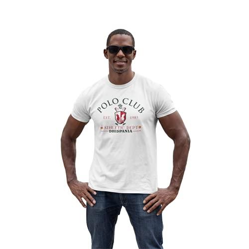 Camiseta de Hombre Manga Corta 100% algodón Modelo Polo Bandera de España (Blanco, S, s)