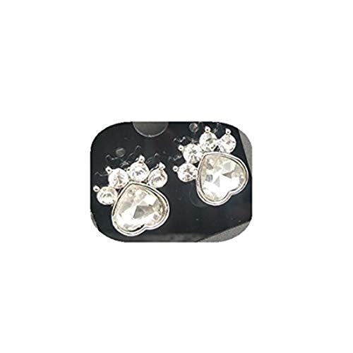 yichahu Juego de pendientes de aguja de cristal con diseño de huellas de perro, con forma de huella de gato, piedra natal de diciembre, oreja de pata de perro (11)