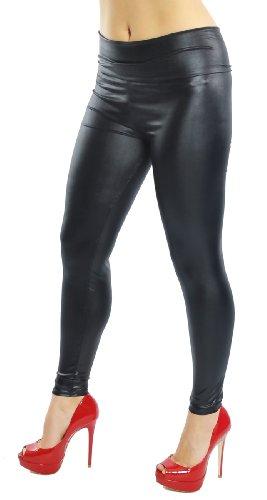 Leggings im Wetlook aus Kunstleder mit breitem Bund, matt glänzend, Clubwear, Partywear, Gogowear, schwarz, Gr. XS S M (one Size)