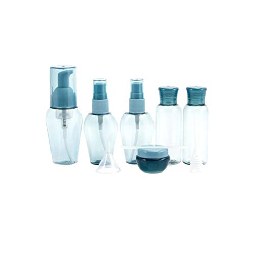 Artibetter Juego de Botellas Cosméticas de Viaje de 9 Piezas con Botellas de Spray Vacías Botellas de Bomba Botellas Exprimidoras Dispensadores de Loción para Azul Líquido