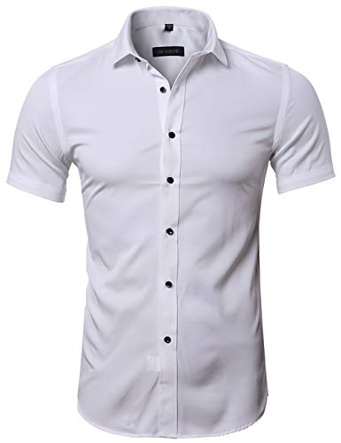Camisa Bambú Fibra Hombre, Manga Corta, Slim Fit, Camiseta Elástica Casual/Formal para Hombre, Blanco, 39 (Hombro 45CM, Pecho 100CM)