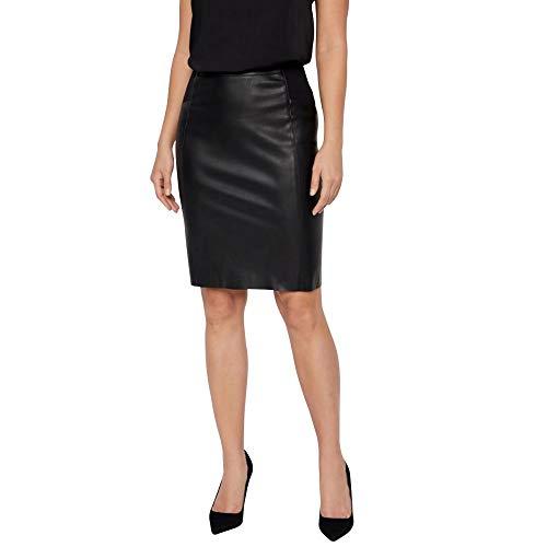 VERO MODA Damen Vmbuttersia Hw Coated Skirt Noos Rock, Black, L EU