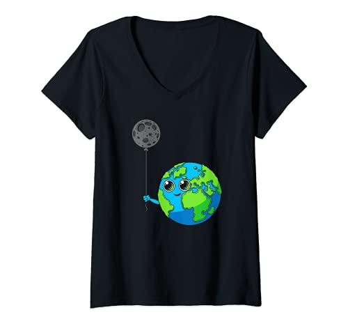 Mujer Planeta Tierra Galaxy Luna Globo Astronomía Espacio Camiseta Cuello V