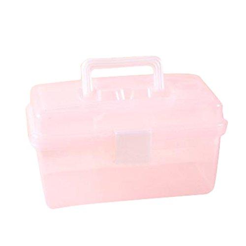 Dosige Boîte Transparente Cas Cosmétique Boîte de Rangement pour Outils de Peinture Boîte de Rangement en Plastique - Rose