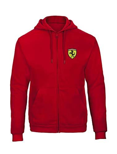 Ferrari Auto Fun Bestickte Logo Sweatjacken Kapuzenpullover mit Reißverschluss Premium Qualität - 9080 - ROT (M)