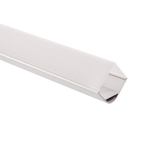 LEDKIA LIGHTING Perfil de Aluminio para Esquinas Redondo 1m para Tira LED hasta 18 mm Translúcido 90ºTranslúcido 90º