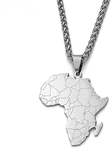Collar Estilo Hip Hop Tarjeta de África Collares pendientes Joyería de acero inoxidable Mujeres Hombres Tarjetas africanas Joyería Regalos Collar
