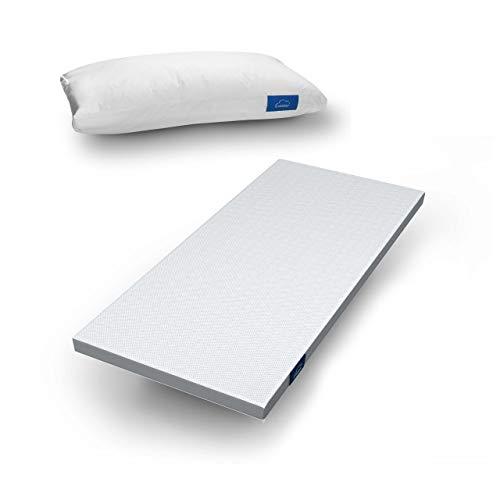 Genius Eazzzy Topper (90x200x7cm) Matratzenauflage für Matratzen & Boxspringbetten + Kissen (40x80 cm) Viskoelastischer Matratzentopper für Allergiker (weitere n erhältlich)