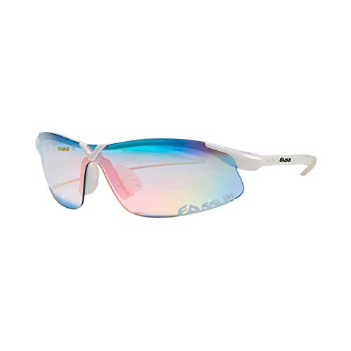 EASSUN Gafas de Running X-Light, Solares Cat 1, 2 o 3 y Ultraligeras con Airflow - Blanco, Azul Claro, Cat 1