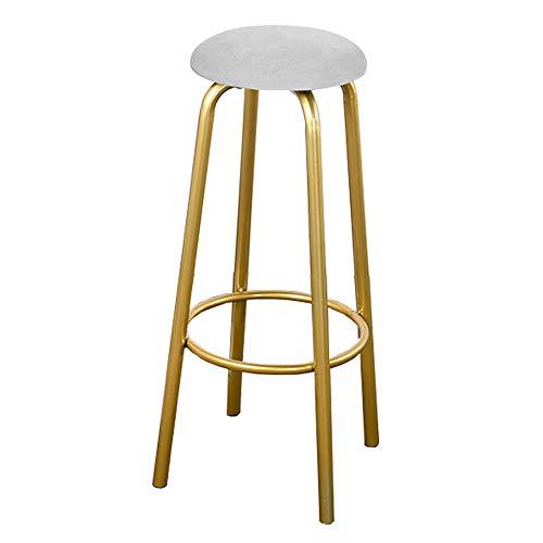 QYJ-stool Taburete De Bar Muebles De Sala De Estar Taburete De Bar Silla De Comedor Acolchada Cocina/Barra Taburete Alto Sin Respaldo Patas De Metal Doradas - Altura De Barra De 65/75 Cm