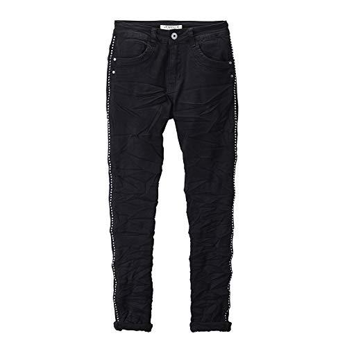 Preisvergleich Produktbild Jewelly Jeans Damen mit Nieten Streifen (S / 36,  Schwarz)