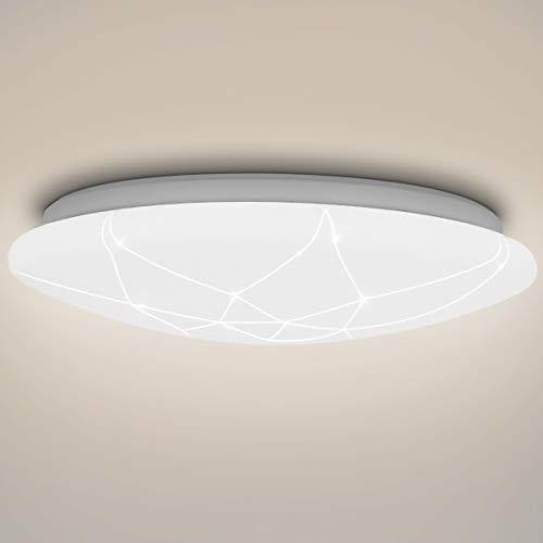 SHILOOK LED Deckenleuchte, 15W Deckenlampe 1500LM 4000K für Flur/Keller/Schlafzimmer, Modern Weiß Rund 29cm