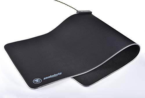 snakebyte PC MOUSEPAD ULTRA XL RGB - verbessert Präzision, Geschwindigkeit / Rutschfest / Reibungsarm / Low Latenz XXL Pro Gaming Mousepad / Eingenähte LED-Beleuchtung / verschleißfest / Größe 80x30cm