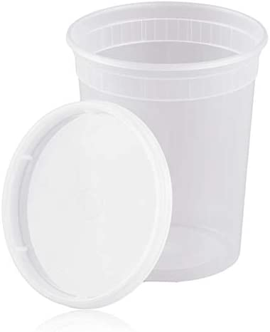 32 oz Plastic Translucent Pack of 10 tekbotic Round Deli Container Lid Combo Pack Disposable product image