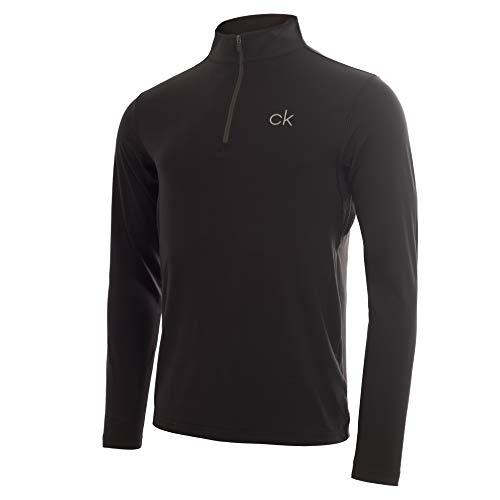 Calvin Klein Herren Newport Half Zip Golf-T-Shirt, schwarz, Groß