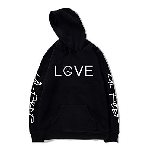 SERAPHY Hip Hop Frühling Herren Sweatshirts Unisex Kapuzenpullover Casual Hoodie Männer/Frauen Print Kleidung-Black-L