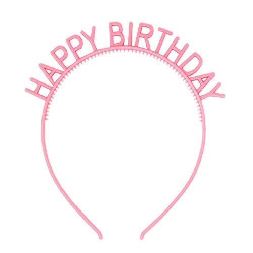 Oblique Unique® Haarreifen Happy Birthday Haarreif für Geburtstag Jubiläum Mädchen Damen Frauen Accessoire in Rosa Lila Grün (Rosa)