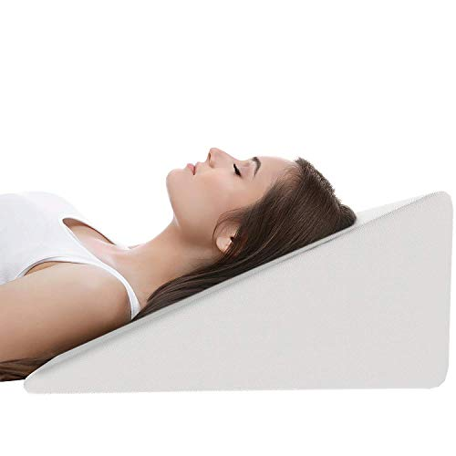 Bright Décor Bed Reduce Back Pain, Snoring, Acid Reflux and Respiratory Problems Wedge Pillow with Memory Foam Top for Sleeping, Reading, Rest or Elevation Breathable and Washable Cover, White