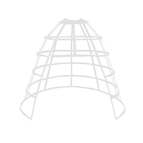 JERKKY Enagua 1 Pieza Hueca con Volantes Jaula de pájaro Falda de Espina de Pescado Soporte niñas Cosplay Enagua Blanca