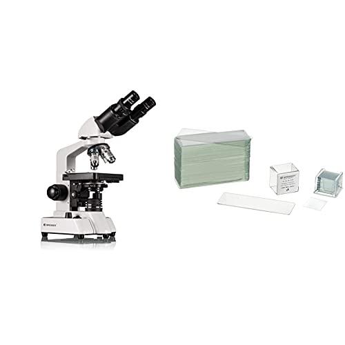 Bresser Durchlicht Mikroskop Researcher Bino 40x-1000x Vergrößerung für gehobene Ansprüche, mit LED Beleuchtung & Mikroskop Objektträger/Deckgläser (50x/100x) mit geschliffenen Kanten zur Erstellung
