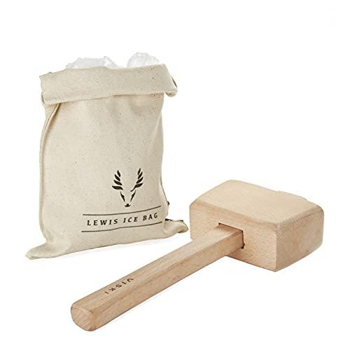 "Viski Professional Lewis Bartender Kit & Bar Kitchen Accessory 12"" Tools, Ice Bag and Mallet"