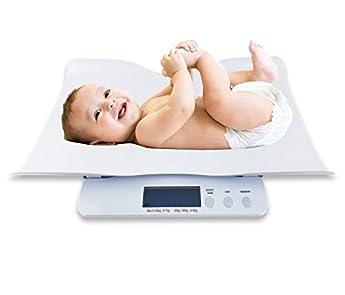 Foto di Bilancia Digitale Smart per Neonato, Bambini, Bebè, Adulti e Animali Domestici con Funzione di taratura e misurazioni digitali dellaltezza, Fino ad Un Massimo di 100kg con Display LCD
