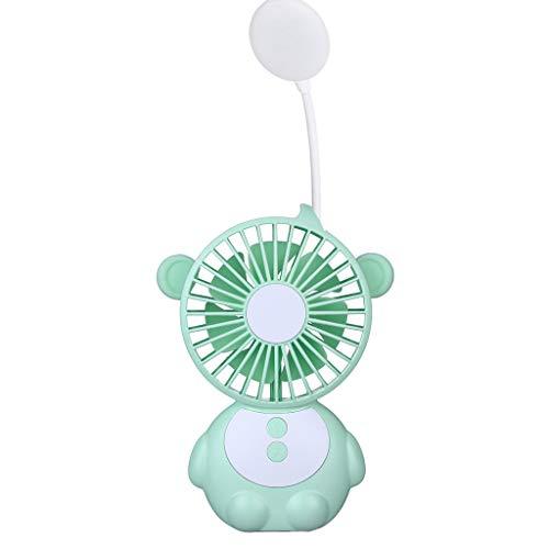 Berryhot Mini Handheld Fan, New 2019 Monkey Elf Table Lamp Fan is Also Mobile Power USB Light, for Office Room Outdoor Household Traveling Silica Gel (Mint Green)