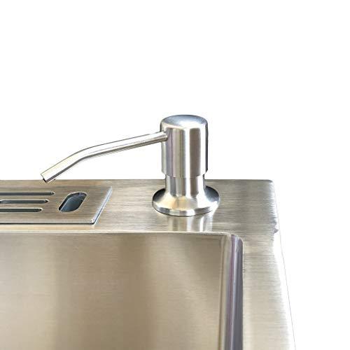 FXJ Dispensador de jabón Manual de Acero Inoxidable Dispensador de lavavajillas para lavavajillas Papelera de jabón de Mano Botella de rotación 360 ° 10.1OZ (Color : Silver, tamaño : Medium)