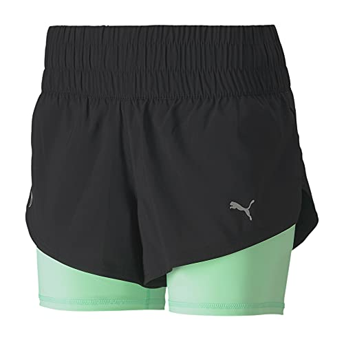 PUMA Last Lap 2-in-1 Damen Training Shorts Puma Black-Green Glimmer M