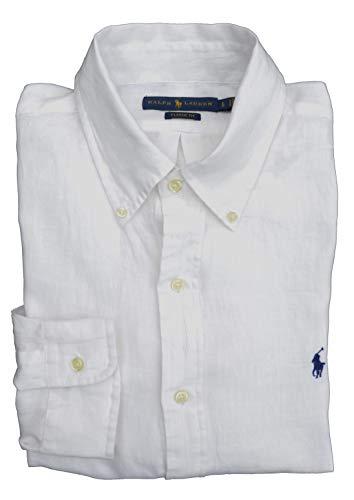 Ralph Lauren Hemd Button Down Leinen Classic Fit Weiß (M)