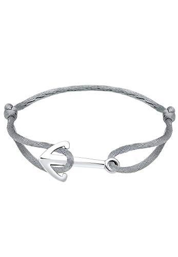 Elli Women Anchor maritime Satin Ribbon 925 Silver Bracelet - 16cm length